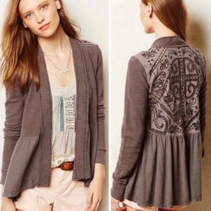 Anthro Saturday Sunday Open Front Lace Cardigan